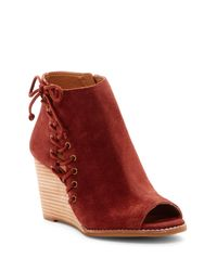 Lucky Brand | Red Jaevin Peep Toe Wedge Bootie | Lyst