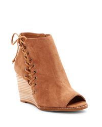 Lucky Brand | Brown Jaevin Peep Toe Wedge Bootie | Lyst