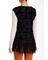 Love Token | Black Daisy Genuine Dyed Rabbit Fur Trim Vest | Lyst