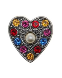Marc Jacobs | Multicolor Simulated Pearl Pave Heart Brooch | Lyst