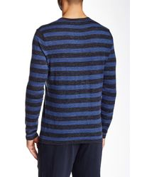 Vince - Blue Jaspe Stripe Crew Neck Sweater for Men - Lyst