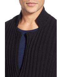 Vince - Black Ribbed Trim Fit Cardigan for Men - Lyst
