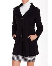Cinzia Rocca | Black Belted Wool Blend Short Coat | Lyst