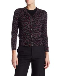 Marc By Marc Jacobs | Blue Leopard Wool Blend Cardigan | Lyst