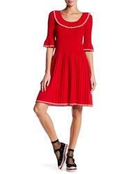 Marc Jacobs | Red Elbow Length Sleeve Ruffle Sweater Dress | Lyst