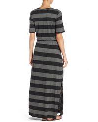 Bobeau Gray Drawstring Waist Jersey Maxi Dress