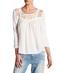 Miss Me - White Lace Accent Tee - Lyst