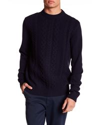 Ben Sherman | Blue Crew Neck Cable Knit Pullover Sweater for Men | Lyst