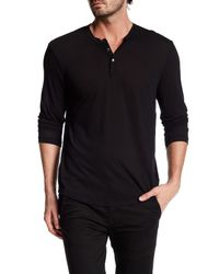 James Perse | Black Long Sleeve Henley Tee for Men | Lyst