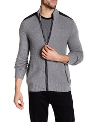 Kenneth Cole | Gray Ribbed Knit Full Zip Contrast Trim Sweater for Men | Lyst