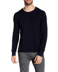 Kenneth Cole | Blue Striped Crew Neck Sweater for Men | Lyst