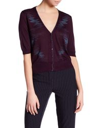 Lafayette 148 New York | Purple Elbow Sleeve Cropped Silk Cardigan | Lyst