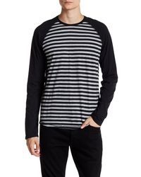 VINCE | Black Feeder Stripe Baseball Tee for Men | Lyst