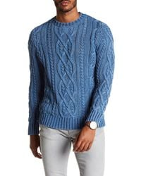 Faherty Brand Blue Cable Knit Crew Neck Sweater for men