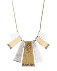 House of Harlow 1960 - Metallic Engraved Accent Geometric Shape Frontal Statement Necklace - Lyst
