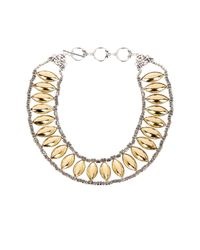 Sparkling Sage - Metallic Oval Beaded Bib Necklace - Lyst