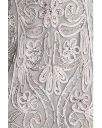 Sue Wong - Gray Ribbon Yarn Cap Sleeve Gown - Lyst