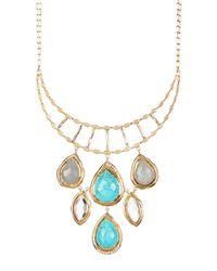 Melinda Maria - Metallic Rita Rock Crystal & Turquoise Bib Necklace - Lyst