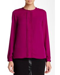 Laundry by Shelli Segal - Purple Pleated Accent Long Sleeve Blouse - Lyst
