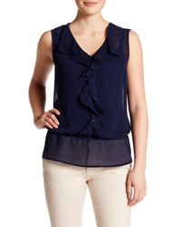 Laundry by Shelli Segal | Blue Sleeveless Front Ruffle Blouse | Lyst