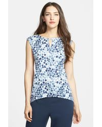 Nordstrom Collection | Blue 'darlington' Print Stretch Silk Top | Lyst