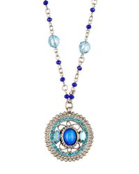 Sorrelli | Blue Beaded Chain Swarovski Crystal Pendant Necklace | Lyst