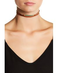 Chan Luu   18k Gold Plated Sterling Silver & Shaded Green Opal Leather Wrap Choker   Lyst