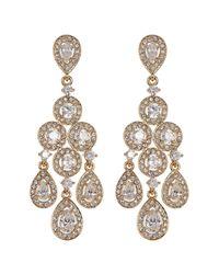 Nadri - Metallic Framed Round & Pear Chandelier Earrings - Lyst