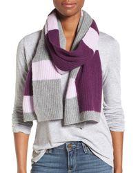Halogen - Purple Colorblock Knit Cashmere Scarf - Lyst