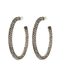 Nadri - Multicolor Gun-metal Medium Micropave Crystal Hoop Earrings - Lyst