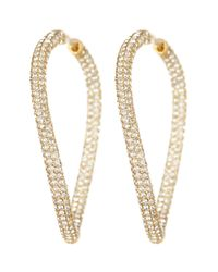 Nadri | Metallic 18k Gold Plated Orsini Open Pave Crystal Hoop Earrings | Lyst