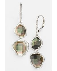 Nadri - Black Stone & Cz Double Drop Earrings (nordstrom Exclusive) - Lyst
