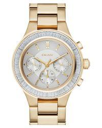 DKNY   Metallic Women's Chambers Crystal Bezel Bracelet Watch   Lyst