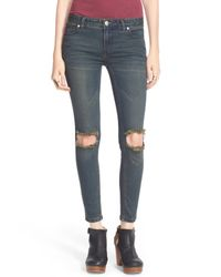 Free People - Blue Destroyed Skinny Jeans - Lyst