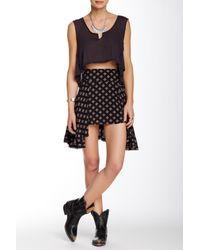 Free People Black Printed Skirt
