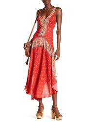 Free People | Red Faithfully Yours Sleeveless Slip Dress | Lyst