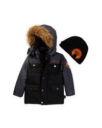 Weatherproof | Black Parka With Faux Fur Trimmed Hood (little Boys) for Men | Lyst