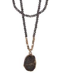 Panacea | White Hematite Layered Druzy Pendant Necklace | Lyst