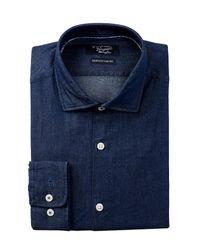 Original Penguin | Blue Twill Trim Fit Dress Shirt for Men | Lyst