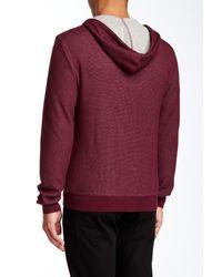 Original Penguin Red Waffle Knit Hooded Zip Jacket for men