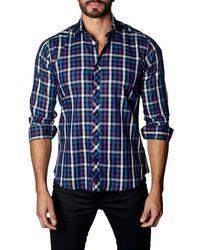 Jared Lang   Blue Plaid Long Sleeve Trim Fit Shirt for Men   Lyst