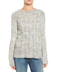 Pam & Gela | Gray Zip Back Cable Knit Sweater | Lyst