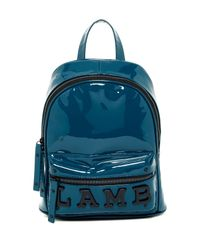 L.A.M.B. | Blue Imen Patent Leather Backpack | Lyst