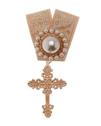 Cara | Metallic Synthetic Pearl And Cross Embellished Ribbon Pin | Lyst