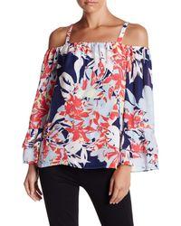 Parker Blue Long Sleeve Cold Shoulder Floral Print Blouse