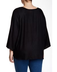 Angie - Black 3/4 Sleeve Embroidered Tunic (plus Size) - Lyst