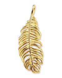 Thomas Sabo | Metallic Gold Plated Sterling Silver Feather Pendant | Lyst