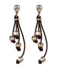 Uno De 50 | Brown Pum-pum Multi-strand Leather Earrings | Lyst