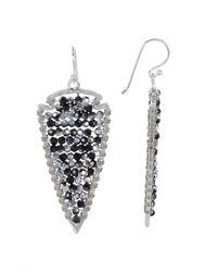 Panacea | Metallic Black & Silver Crystal Beaded Arrow Earrings | Lyst