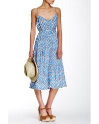 Porridge Blue Printed Button Front Dress